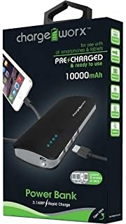 Chargeworx CX6540BK Powerbank 10000mah 3.1A 3 USB Ports withFlashlight LED Black