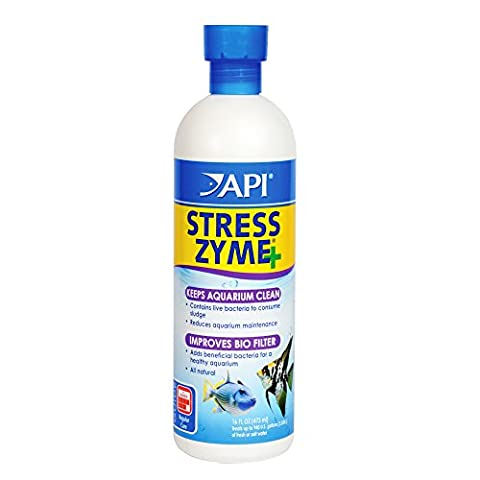API STRESS ZYME Freshwater and Saltwater Aquarium Cleaning Solution 16-Ounce Bottle - Api Tap Water Conditioner