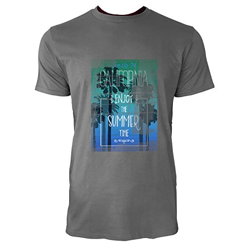 SINUS ART® California - Enjoy The Summer Time Herren T-Shirts in Grau Charocoal Fun Shirt mit tollen Aufdruck