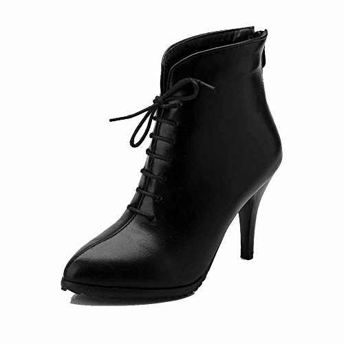 WeiPoot Women's Soft Material Zipper Pointed Closed Toe High-Heels Low-top Boots, Black, 37 ()
