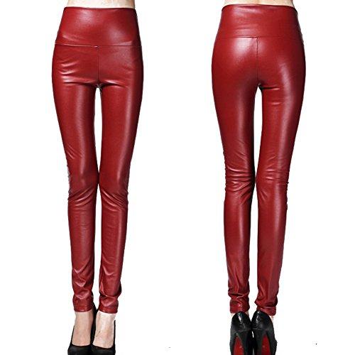 Stretch Slim Pantalons Crayon Pu paissir Cuir Haute Hibote C36 Taille Femme Elastique q718WBx