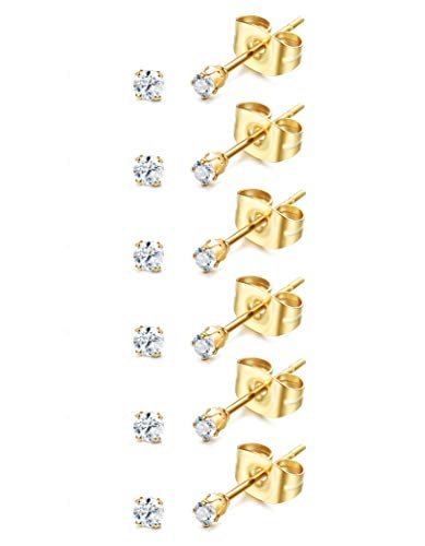 - ORAZIO 6-20 Pairs Tiny 2mm Stainless Steel Stud Earrings For Mens Womens CZ Round Ball Earrings Set (I: 6 Pairs,Gold)