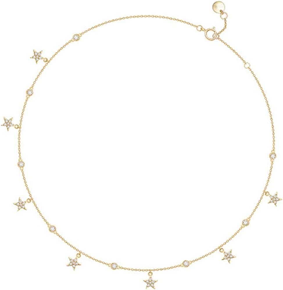 AINUOSHI 7 Stars Choker Necklace CZ 18k Cubic Gifts Gold Zirconia and free