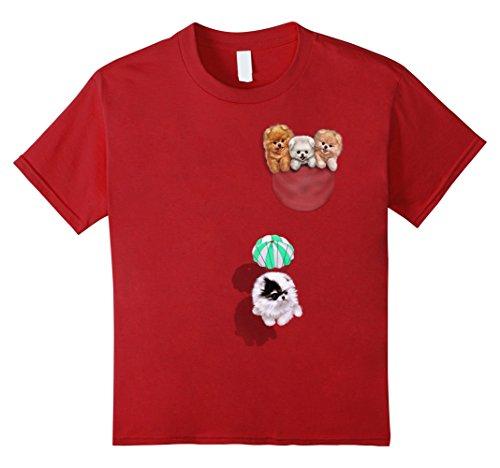 Kids T-Shirt - Cute Tea Cup Pomeranian Puppy, Dog in Pocket 4 Cranberry (Puppies Pomeranian Dogs)