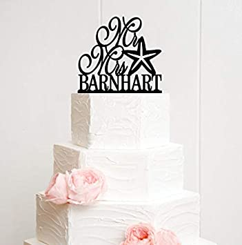Mr And Mrs Starfish Wedding Cake Topper With Your Last Name