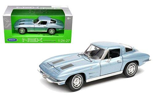 (Welly 1963 Chevrolet Corvette Metallic Light Blue 1/24-1/27 Diecast Model Car by)