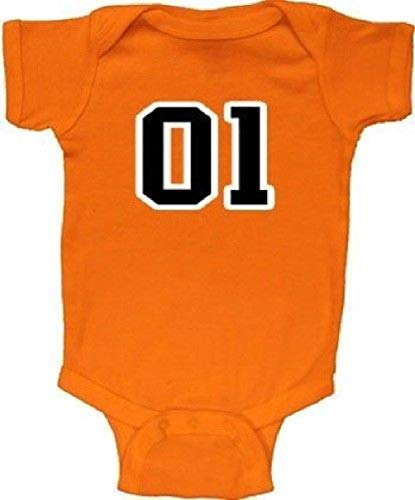 Infant Baby Orange Dukes Of Hazzard 01 General Lee Charger Baby Romper ()
