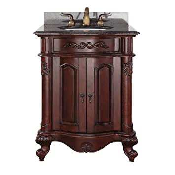 24 vanity with granite top. avanity provence 24 in. vanity with imperial brown granite top and sink in antique cherry