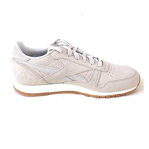Reebok Cl Lthr Clean Exotics, Zapatillas de Deporte para Mujer Gris (Stucco / Chalk / Sand Stone / Gum)