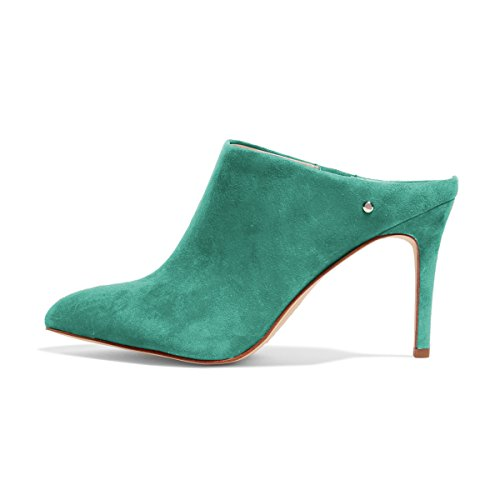 FSJ Women Slip On Closed Toe Mules Faux Suede Sandals Stiletto High Heels Classic Shoes Size 4-15 US Turquoise free shipping real best wholesale cheap price N9wi88
