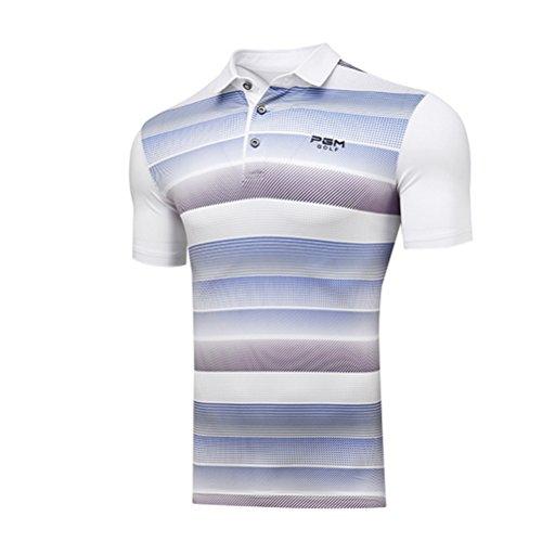 Kayiyasu ポロシャツ メンズ ゴルフウェア UVカット ゴルフシャツ オシャレ スポーツシャツ 男性用 半袖 Tシャツ 運動着 日焼け止め 021-xsty-yf112(XL パープル)