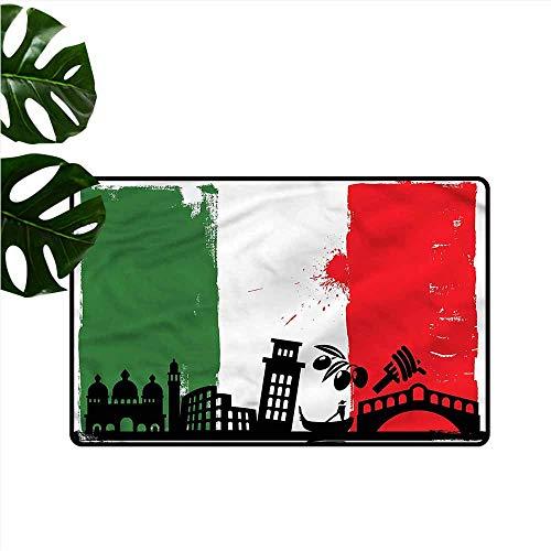 (DUCKIL Bedroom Doormat Italian Flag Grunge Pop Art Venice Hard and wear Resistant W24 xL35)