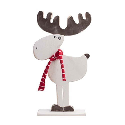 1378 white red brown wood christmas deer outdoor decorations christmas reindeer christmas elk christmas - Outdoor Moose Christmas Decorations