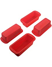 """Set of 4 Silicone Mini Loaf Pan - SILIVO Non-Stick Mini Loaf Baking Pans, Mini cake pan, Mini Bread Loaf pans for Cake, Bread, Meatloaf and Quiche - 5.7""""x2.5""""x2.2"""""""