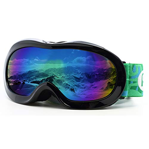 Picador Kids Ski Goggles with Excellent Impact Resistance Anti-Fog Lens 100% UV Protection for Boys & Girls (Black)
