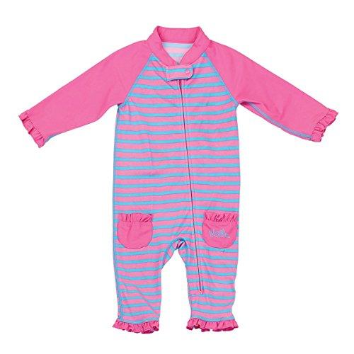 UV Skinz UPF 50+ Baby Girls Sun & Swim Suit- Bubblegum Stripes - 18/24m
