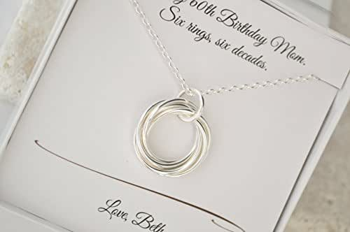 Amazon.com: 60th Birthday Necklace Gift For Mom, 6 Rings