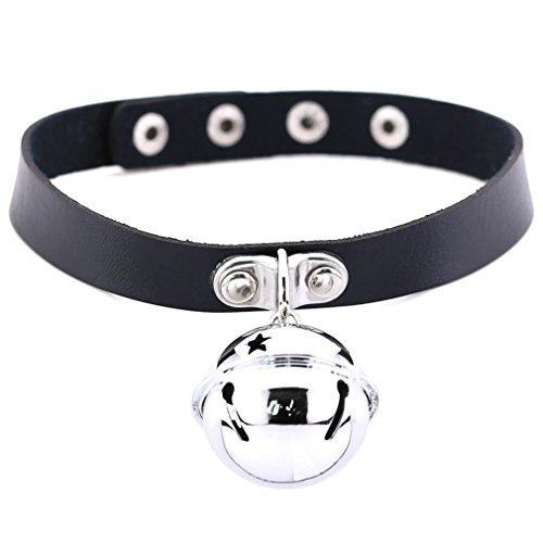 (FM FM42 Black Simulated Leather PU 4cm Large Bell Pendant Neckband Choker Necklace PN1855)