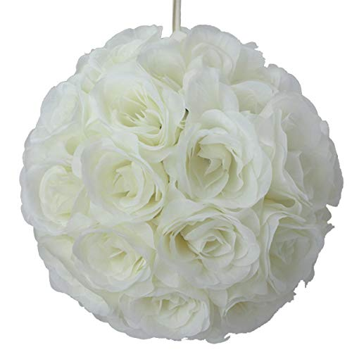 TCDesignerProducts Ivory Silk Flower Ball, 12 Inches, Prom, Wedding, Party Decoration -