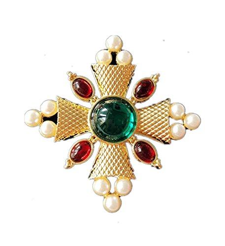 Pearl Cross Ornament (Micrkrowen Green Resin Gems Cross Pearl Brooch Corsage)
