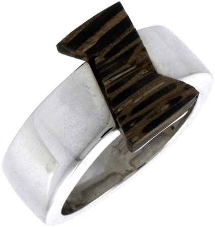 Wide Size 9 Sterling Silver Double Triangle Ring w//Ancient Wood Inlay 5//8 16mm