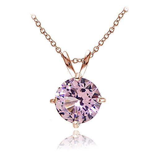(Rose Gold Flashed Sterling Silver Simulated Pink Tourmaline 7mm Round Solitaire Pendant Necklace)