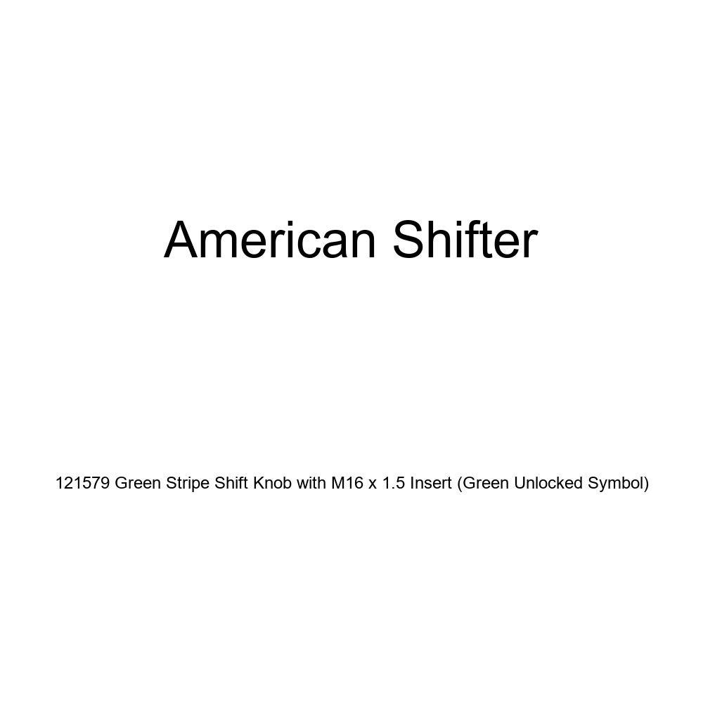 American Shifter 121579 Green Stripe Shift Knob with M16 x 1.5 Insert Green Unlocked Symbol