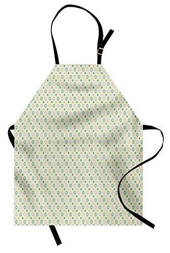 Lunarable Geometric Apron, Diagonal Circles Polka Dots on Green Background Symmetric Pattern, Unisex Kitchen Bib Apron with Adjustable Neck for Cooking Baking Gardening, Pale Green Baby Pink Teal ()