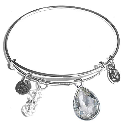 Hidden Hollow Beads Message Charm (84 Options) Expandable Wire Bangle Women's Bracelet, in The Popular Style, Comes in A Gift Box! (Birthstone April)