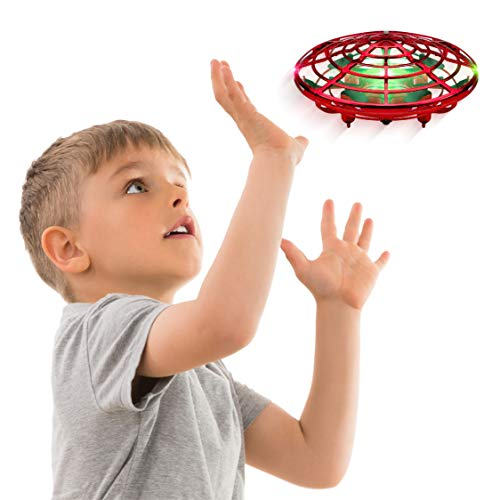 Hand Operated Drones for Kids or Adults - Scoot Hands Free Mini Drone Helicopter, Easy Indoor Small Orb Flying Ball Drone Toys for Boys or Girls (Red) from Force1