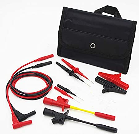 TestHelper TH-6-KIT Automotive Test Lead Kit Test Probes,Flexible Silicon Back Probe pins,Shielded Alligator Clips and Large Crocodile Clips,Multimeter Meter