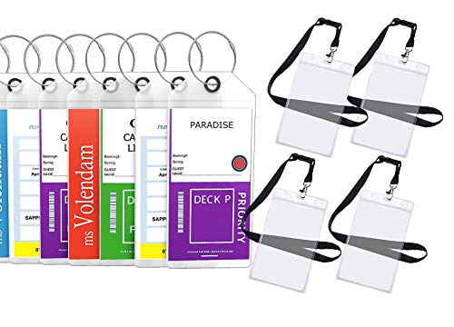 Cruise Tags Luggage Etag Holders Zip Seal & Steel Loops Thick PVC - (8 Pack + 4 ID - Coin Printed Set
