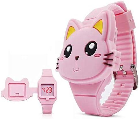 ガールズ デジタル腕時計 かわいいウサギの猫 クラムシェルデザイン LEDウォッチ cat pink