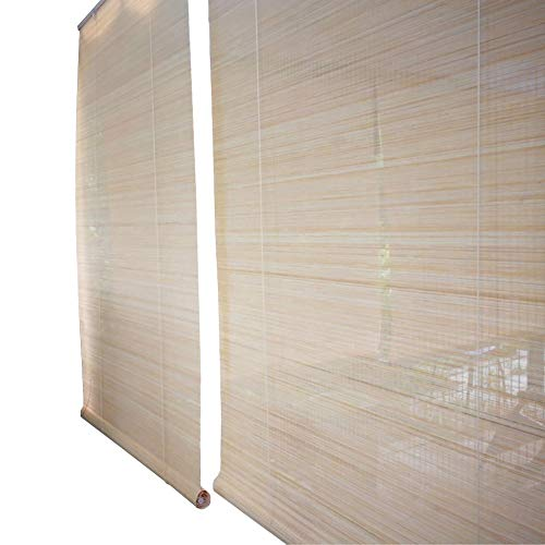 Roller Shades Outdoor Patio Bamboo Roll Up Blinds, Hook Type Pleated Shades 60% Sunscreen, for Patio Tea Room, Natural (Size : 45x80cm)