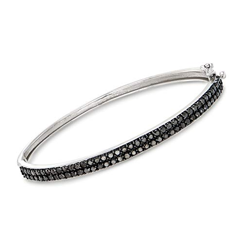 Ross-Simons 2.00 ct. t.w. Black Diamond Bangle Bracelet in 14kt White ()