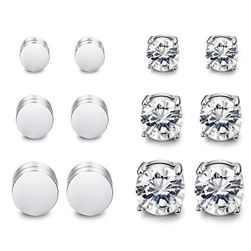 Thunaraz 6 Pairs Stainless Steel Magnetic Earrings CZ Earrings Fake Gauges Earring Studs for Men Women Non Pierced 6/8/10mm
