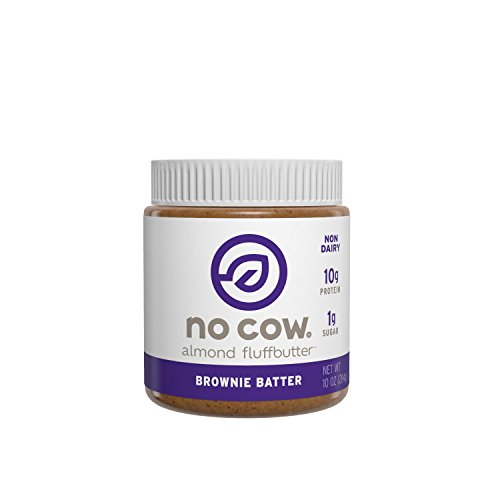 No Cow Almond Fluffbutter, Brownie Batter, 10g Plant Based Protein, Low Sugar, Dairy Free, Gluten Free, Vegan, 10 Ounce
