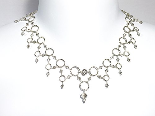 Wire Wrapped Beaded Bib Necklace with Twisted Silver Rings and Crystals