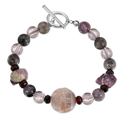 Amazing Art Jewelry Bracelet. Handmade Sunstone, Smoky Quartz, Raw Ruby and Amethyst Bracelet. One of a Kind