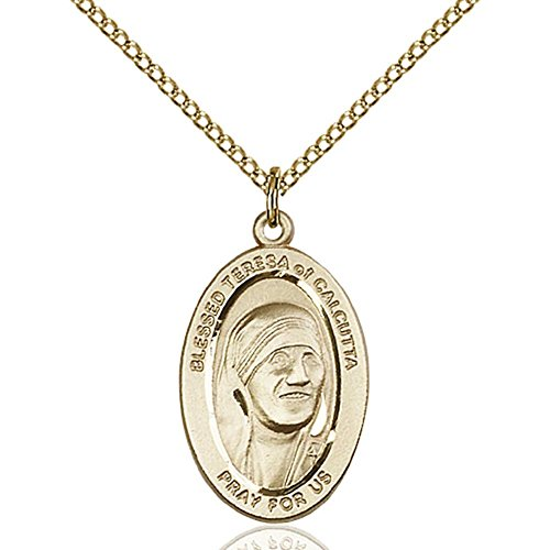 Gold Filled St. Teresa of Calcutta Pendant 7/8 x 1/2 inches with Gold Filled Lite Curb Chain by Unknown