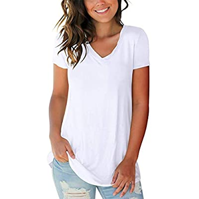 SAMPEEL Women's Basic V Neck Short Sleeve T Shirts Summer Casual Tops at Women's Clothing store