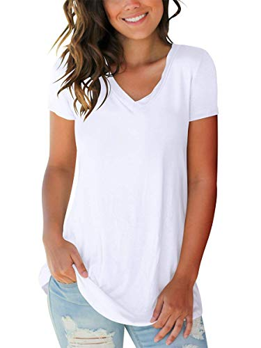 Women Cute Tops Short Sleeve V Neck T-Shirts Lightweight Summer Clothes White S