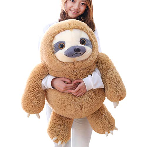 Winsterch Giant Sloth Stuffed Animal Toy Plush Sloth Gift Baby Dolls Birthday Gifts for Kids,27.5 inches (Brown) (Animal Large Sloth Stuffed)