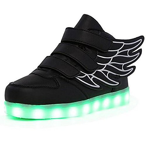 Hangchen Kids Boys Girls Led Light Up Shoes USB Charging 11 Colors Flashing Sneakers Boots Christmas