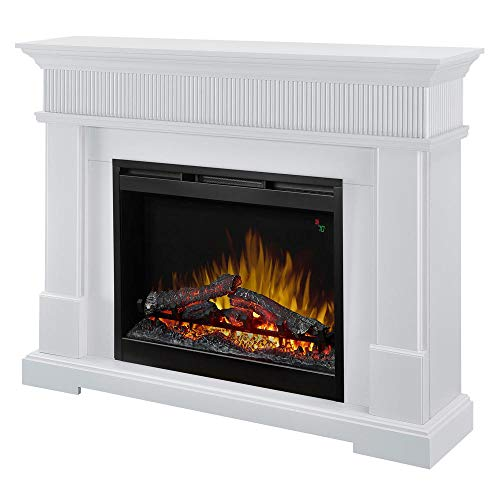 DIMPLEX Jean Mantel Electric Fireplace with LOGS White Finish (Electric White Fireplaces Dimplex)