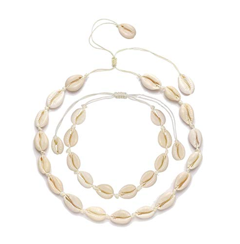 - Cowrie Shell Choker Necklace for Women Girl Handmade Seahsell Choker Boho Shell Anklets Set Adjustable Beach Summer Jewelry (A-Shell Clasp)