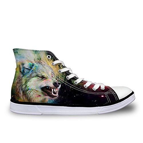 Sneakers Animal Women Canvas Wolf Top Universe Shoes Coloranimal High Prints Lightweight 2 Galaxy WCxUn5z