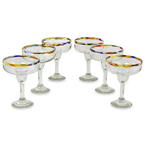 NOVICA 251969 'Confetti Kiss' Margarita Glass, 7'' Tall, Clear Multicolor by NOVICA (Image #1)