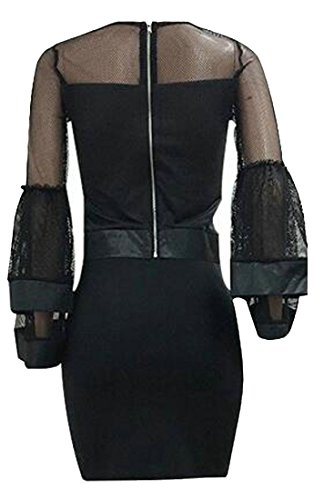 Cromoncent Rise Black1 Splice Mesh Sleeve Long High Bodycon Mini Womens Dress Hipster Uw47qrU