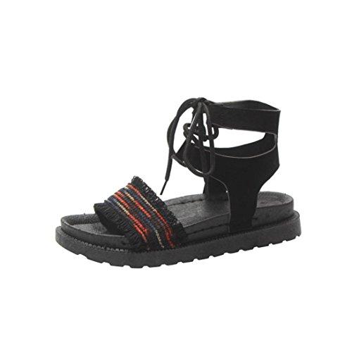 hunpta Women Mixed Colors Cross Tied Flat Heel Peep Heel Sandals Beach Shoes Red